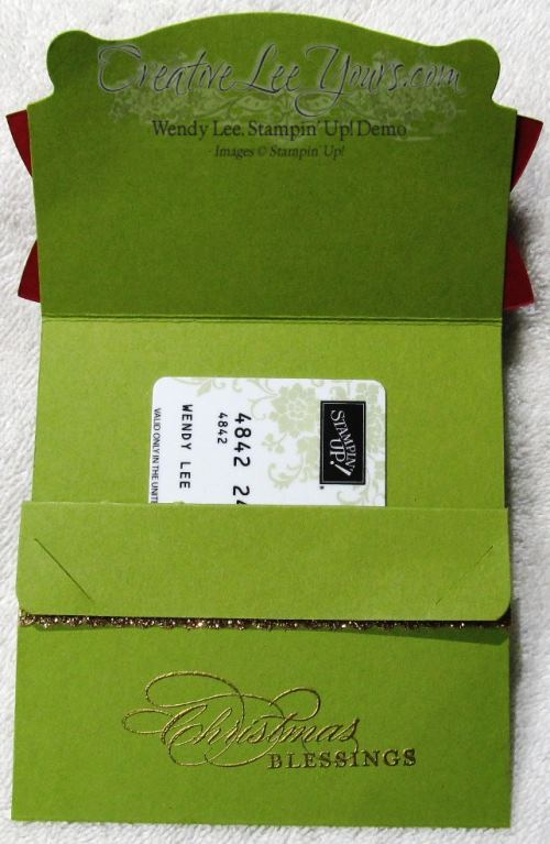 bow gift card holder open