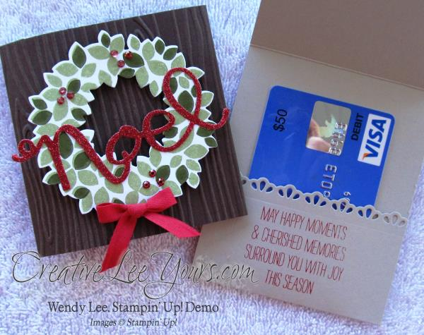 wondrous wreath gift card holder by wendy lee, creativeleeyours, Stampin' Up!, Christmas