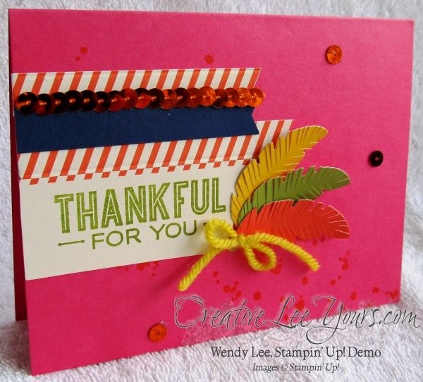 October 2014 Paper Pumpkin Sweet As Pie Kit by wendy lee, Stampin' Up!, #creativeleeyours, thank you card