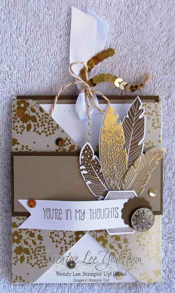 Four Feathers pocket card by wendy lee, #creativeleeyours, FMN class, Stampin Up
