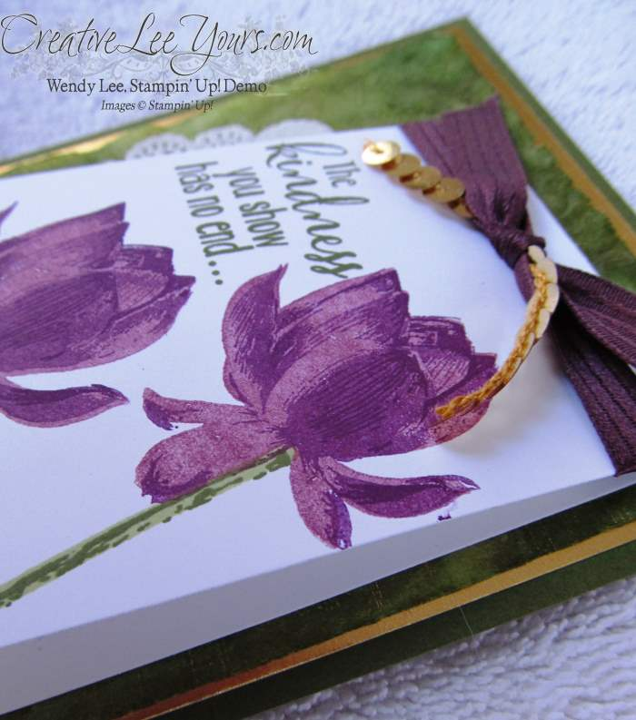 Lotus Blossom Thank You by Wendy Lee, #SAB2015, #creativeleeyours, Stampin' Up!, Card