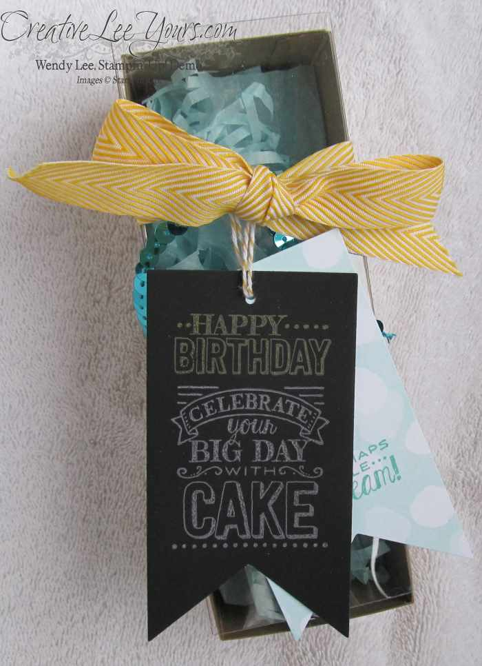 Big Day Birthday Box by Wendy Lee, #creativeleeyours, #SAB2015, Stampin' Up!,Tag a Bag Gift Box