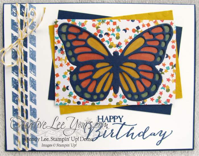 Faux Stained Glass Butterfly by Sheila, #creativeleeyours, Stampin' Up!, Butterfly Basics stamp set, birthday card