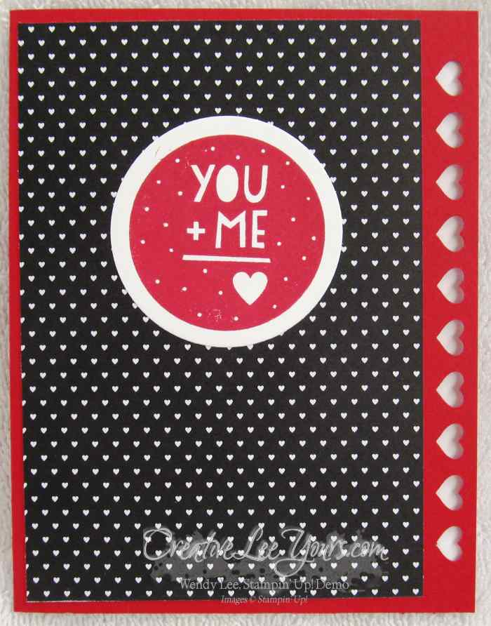 You Plus Me by Jennifer Moretz, #creativeleeyours, Stampin' Up!, Valentine Card