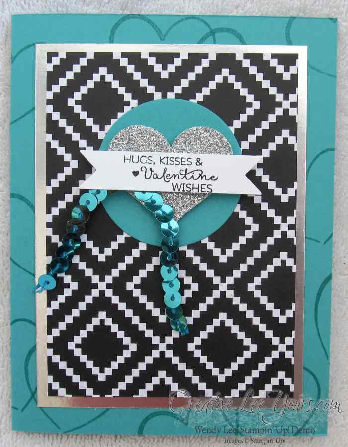 Hugs & Kisses Valentine by Wendy Lee, January 2015 Paper Pumpkin, #creativeleeyours, Stampin' Up!, FMN class bonus card