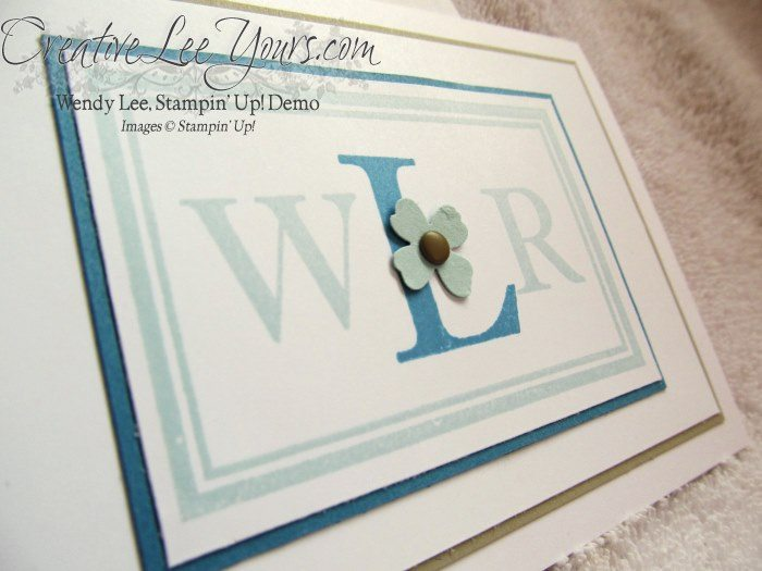 Monogramed Note Cards by Wendy Lee, #creativeleeyours, Stampin' Up!, Sophisticated Serifs, March 2015 FMN class