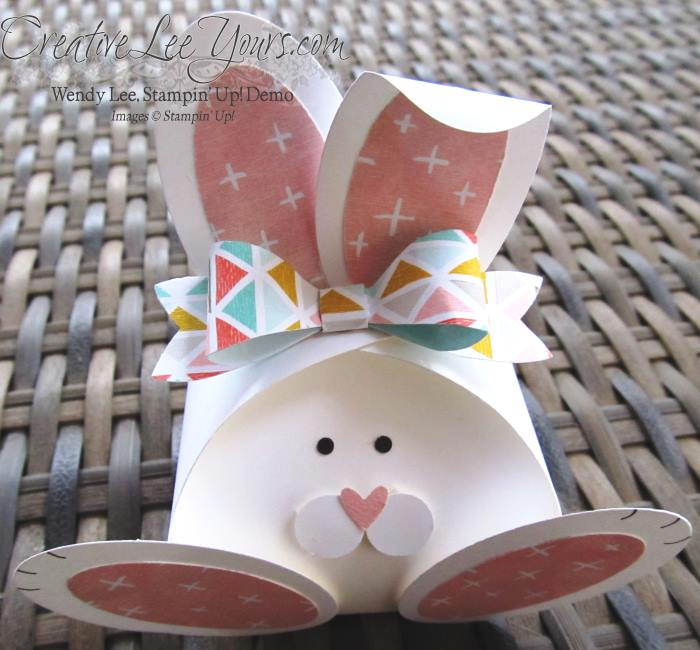 Curvy Keepsakes Easter Bunny by Wendy Lee, #creativeleeyours, Stampin' Up!, Bow builder punch