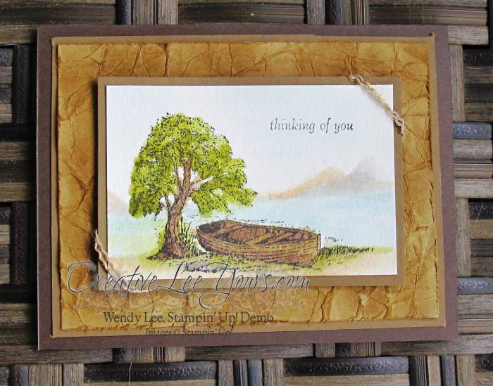 Moon Lake Thinking of You by Wendy Lee, #creativeleeyours, Stampn' Up!, watercolor, Masculine, April 2015 FMN class