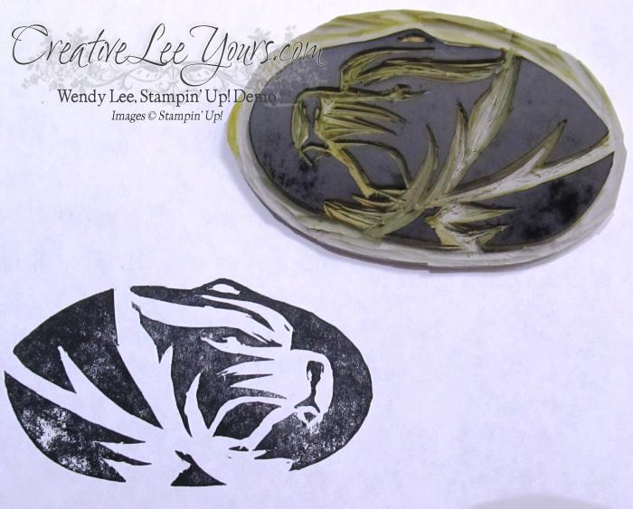 Undefined Mizzou Tiger by Wendy Lee, #creativeleeyours, Stampin' Up!, stamp carving
