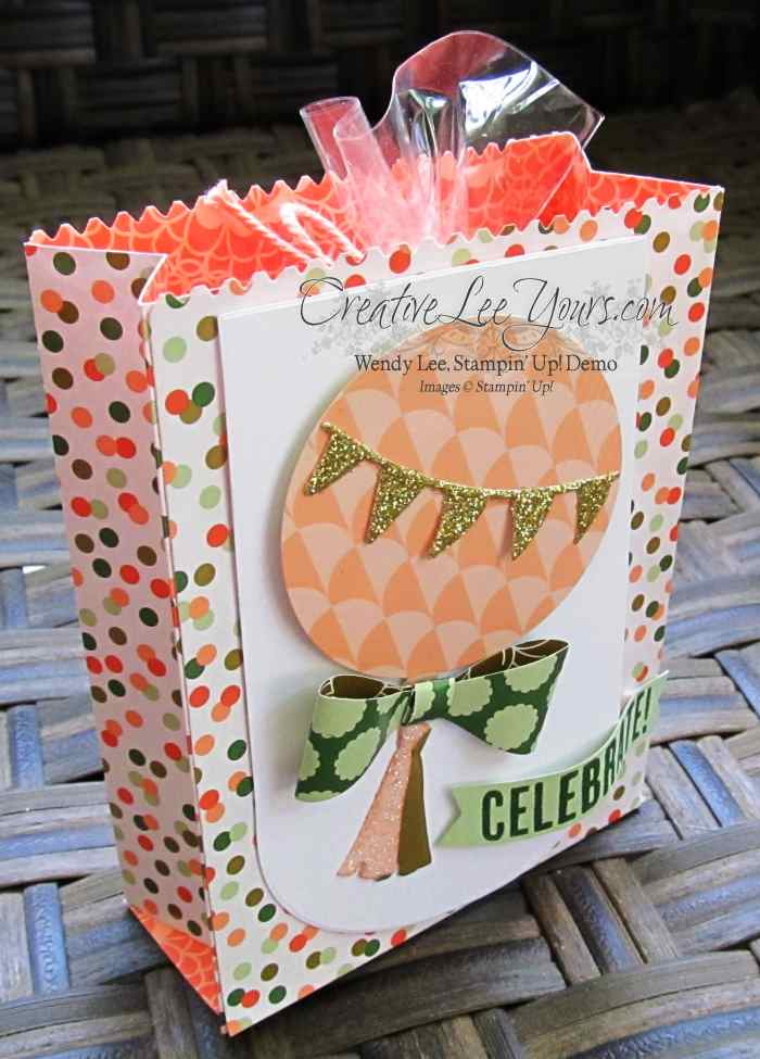 Celebrate Today Gusseted Treat Bag by Wendy Lee, #creativeleeyours, Stampin' Up!, Mini Treat Bag Thinlits