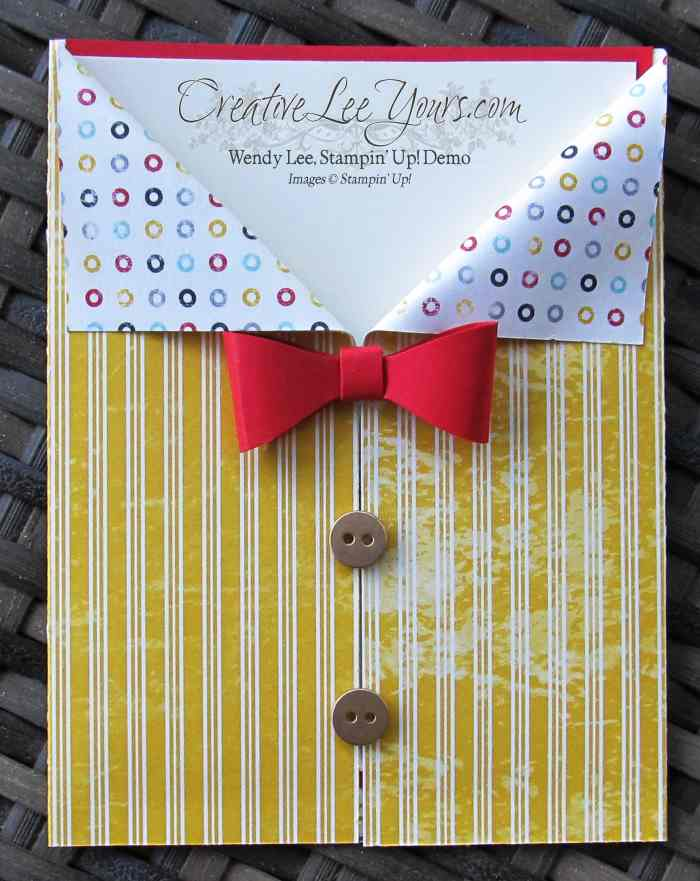 Shirt with Bow Tie card by Wendy Lee, #creativeleeyours, Stampin' Up!, bow builder punch, Flashback DSP, masculine