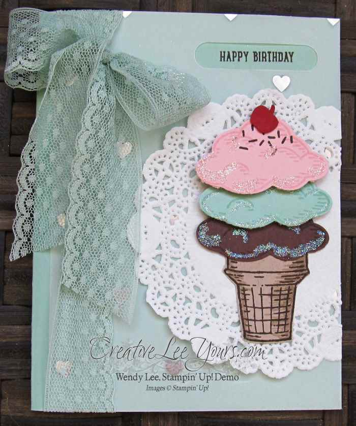 Ice Cream Sprinkles by Wendy Lee, #creativeleeyours, sprinkles of life stamp set, stampin' up!, birthday card