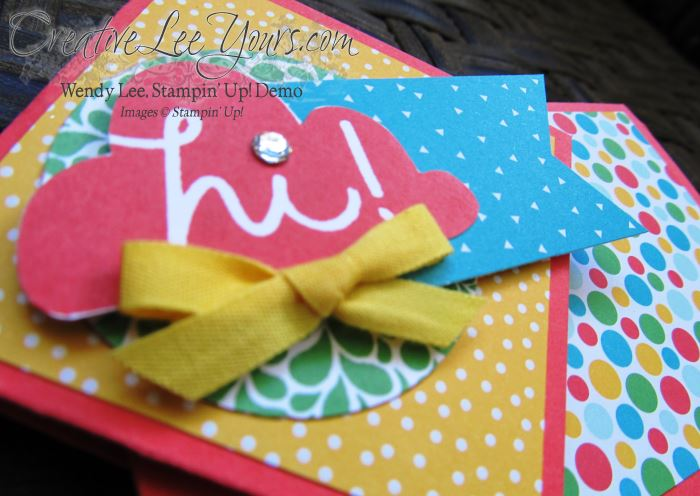 Twist turn Giftcard by Wendy Lee, #creativeleeyours, Stampin' Up, I think you're great stamp set, June 2015 FMN class
