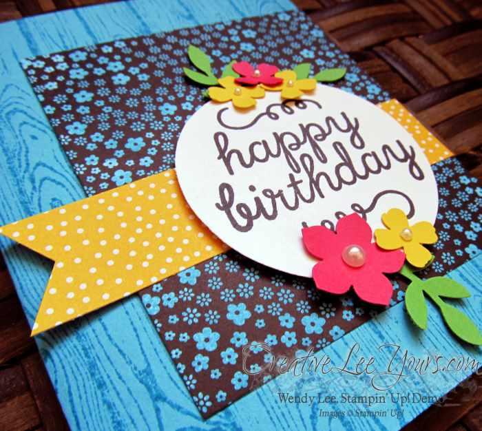 Happy Birthday Card by Wendy Lee, #creativeleeyours, Stampin' Up!, May 2015 Paper Pumpkin Birthday Bundle, June 2015 FMN bonus card