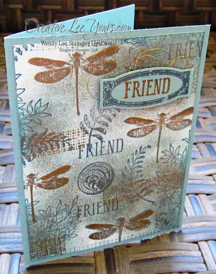 Golden awesomely artistic by wendy lee, #creativeleeyours, Stampin' Up!, Friend Card, collage