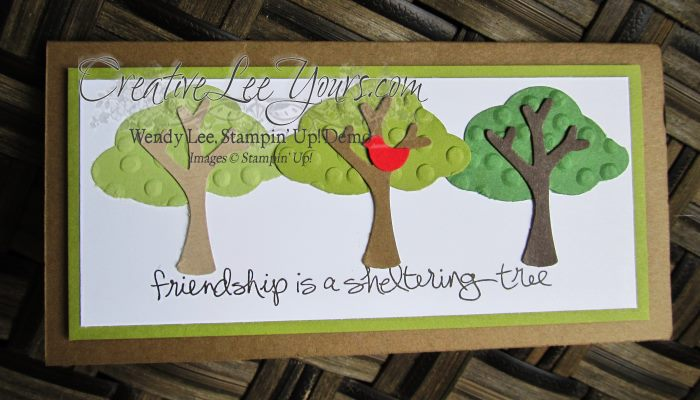 Sheltering Trees by Stephanie Daniel, #creativeleeyours, Stampin' Up!, Diemonds team swap, tree builder punch
