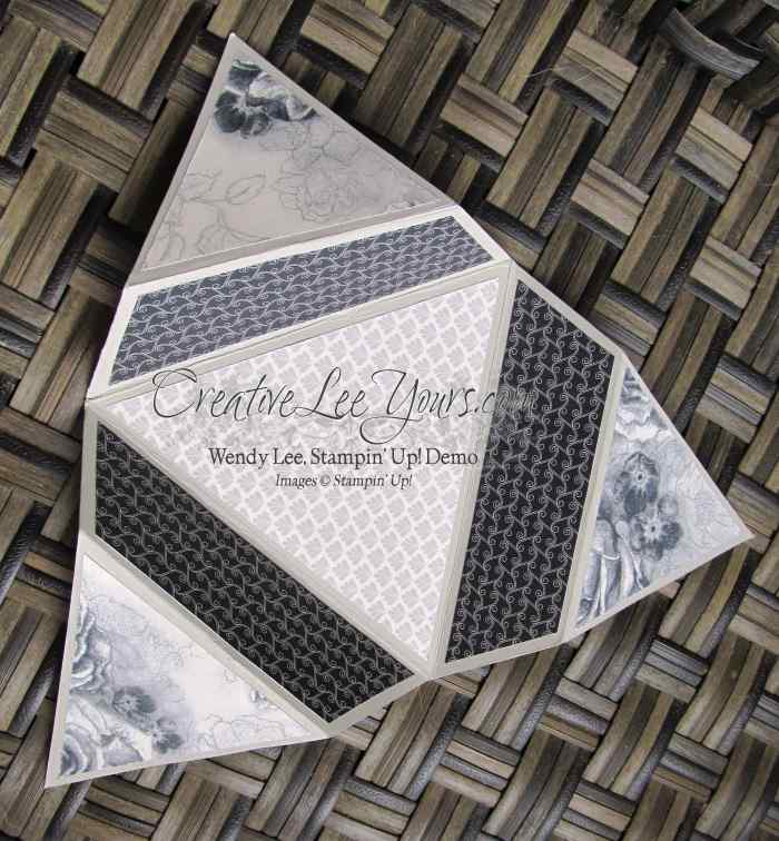 "elegant star fold by Candy Combs, #creativeleeyours, Sampin"" Up!, timeless elegance DSP, diemonds team swap"