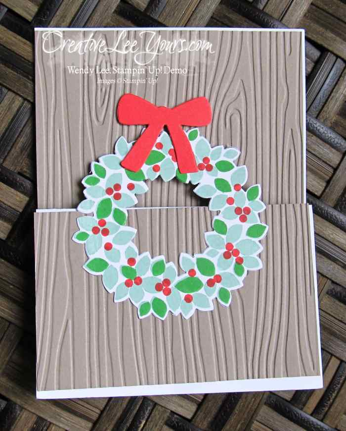Christmas Wreath Easel Card by Robin Reid, #creativeleeyours, Stampin' Up!, Diemonds team swap