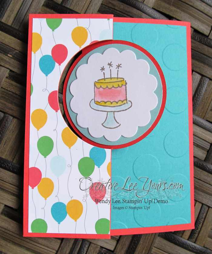 Birthday Wishes Circle Flip Card by Sheila Tatum, #creativeleeyours, Stampin' Up!, Diemonds team swap