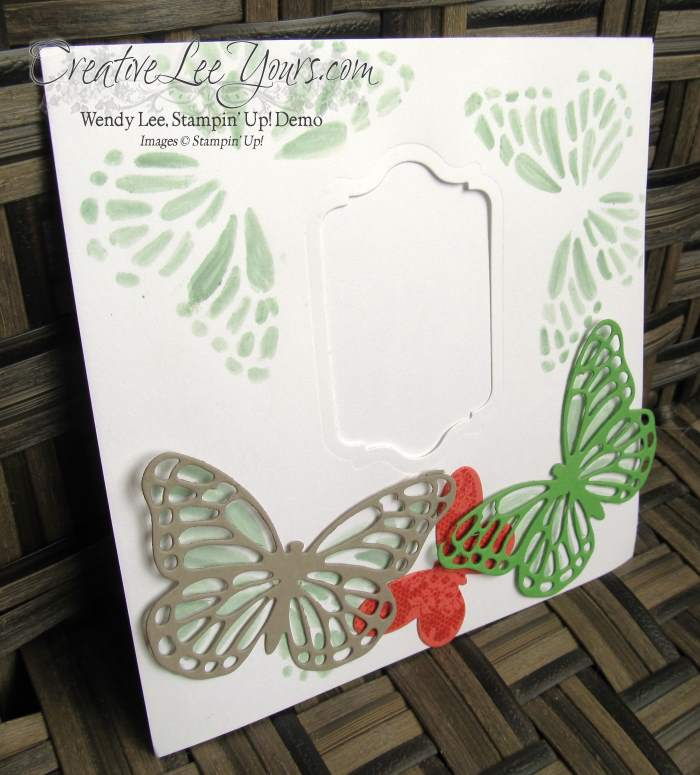Butterfly Footprints by Gwen Willimas, #creativeleeyours, Stampin' Up!, Butterfly thinlits, diemonds team swap