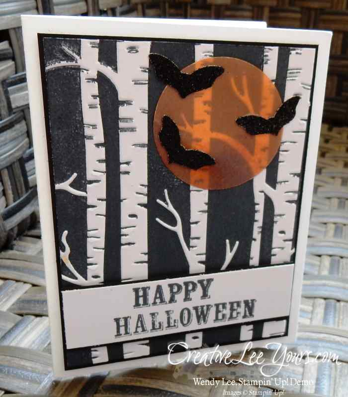Woodland Halloween by Wendy Lee, #creativeleeyours, Stampin' Up!, woodland embossing folder, brayer technique