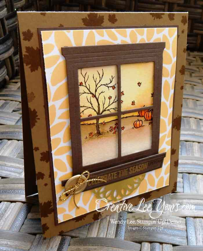 Fall Window by Wendy Lee, #creativeleeyours, Stampin' Up!, Happy Scenes stamp set, festive fireplace stamp set, perpetual birthday stamp set, heart & home thinlits
