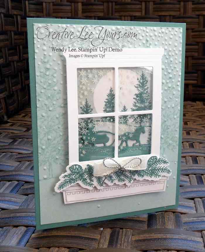 Winter Window by Wendy Lee, #creativeleeyours, Christmas, Stampin' Up!, Oct 2015 FMN class, Sleigh Ride Edgelits, Happy Scenes stamp set, festive fireplace stamp set, hearth & home thinlits, Versatile christmas stamp set