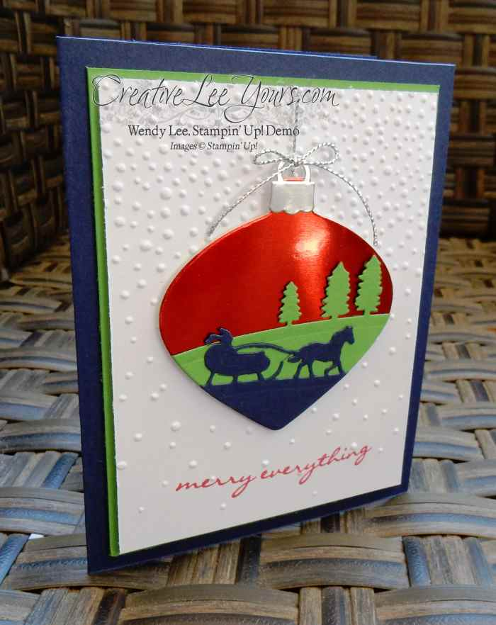 Sleigh Ride Ornament by Wendy Lee, #creativeleeyours, Stampin' Up!, Diemonds team swap, sleight ride edgelits, delicate ornament thinlits