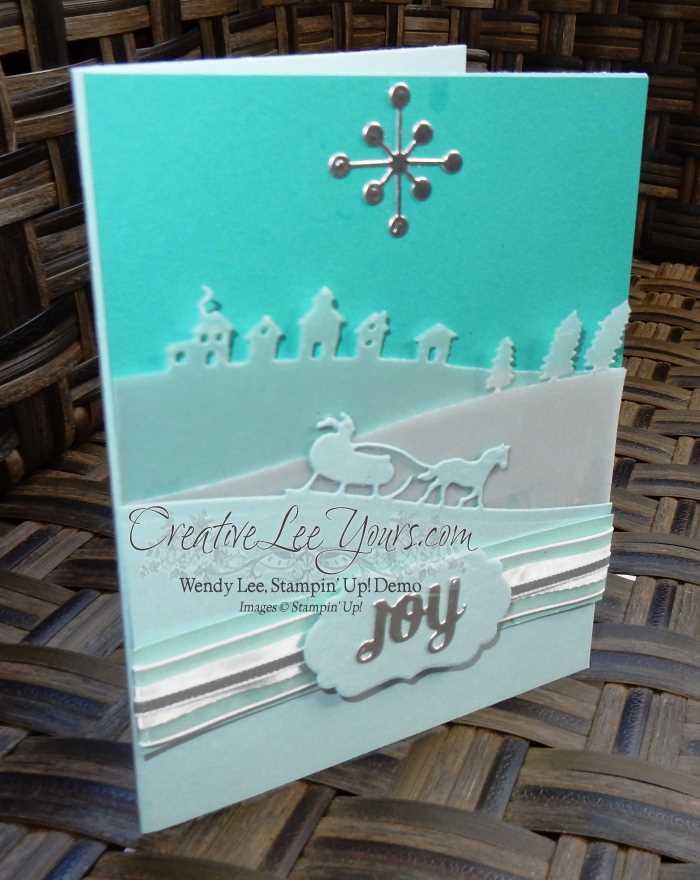 Sleigh Ride Joy by Carol Curren, #creativeleeyours, Stampin' Up!, Christmas Card,Diemonds team swap, Sleigh Ride Edgelits