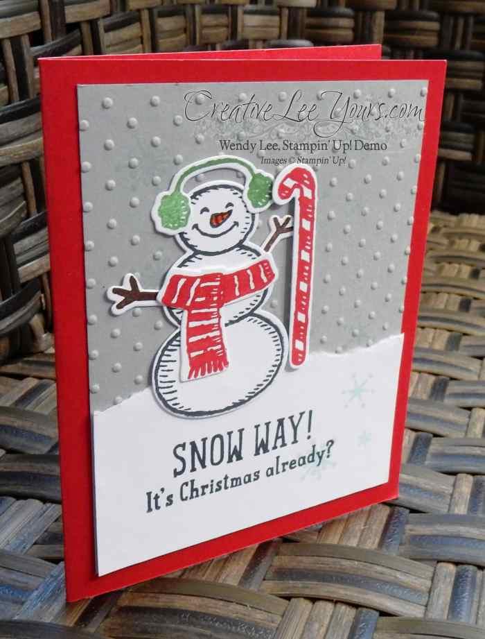Snow Way Snowman by Jennifer Moretz, #creativeleeyours, Stampin' Up!, Christmas Card, Snow Place Stamp Set, Diemonds team swap