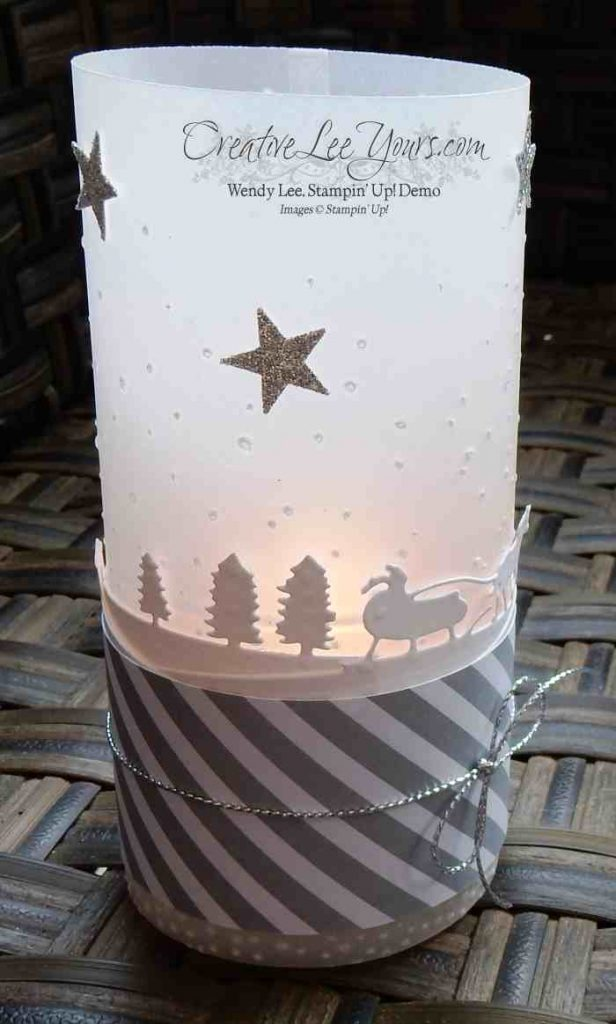Sleigh Ride Luminary by Wendy Lee, #creativeleeyours, Stampin' Up!, Holly Jolly Greeting stamp set, Sleigh Ride edgelits, November 2015 FMN class