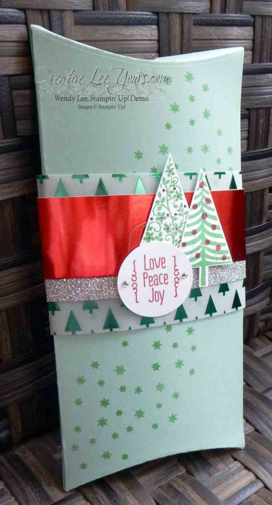 Double Pillowbox by Wendy Lee, #creativeleeyours, Stampin' Up!, November 2015 FMN class, Festival of Trees stamp set