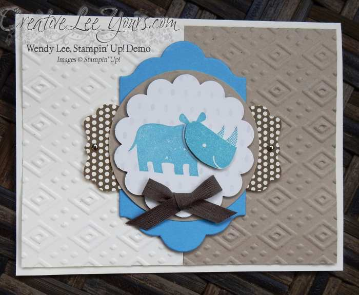 Zoo Babies Baby Rhino by Wendy Lee, #creaticveleeyours, Stampin' Up!, December 2015 FMN class, hand made card