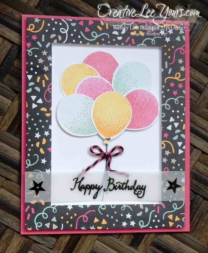 Balloon Celebration by Sheila Tatum, #creativeleeyours, Stampin' Up!, Diemonds team swap