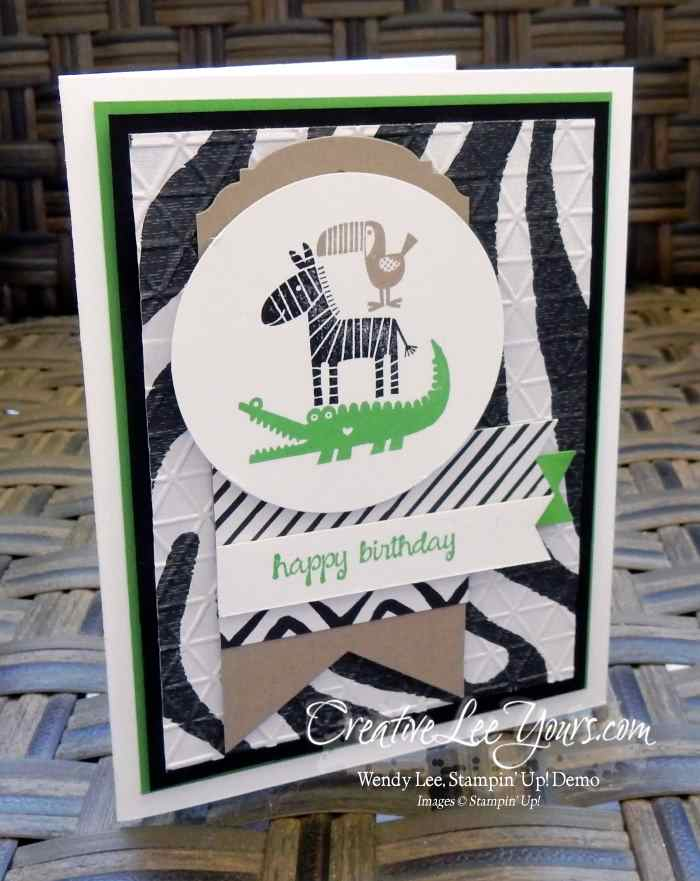 Zoo Babies Birthday by Wendy Lee, #creativeleeyours, Stampin' Up!, May 2016 FMN class, masculine card