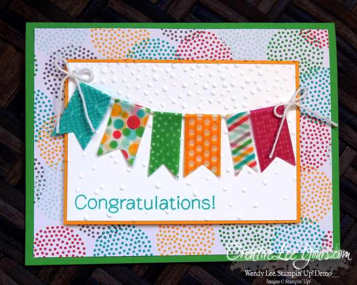Washi Banner by Wendy lee, #creativeleeyours, Stampin' Up!, Bravo stamp set, congrats, cherry on top dsp