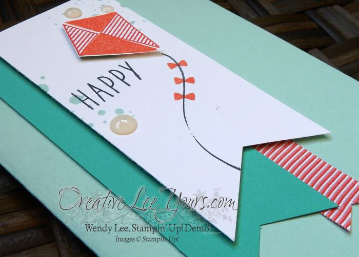 Swirly Kite by Wendy Lee, Stampin Up, Swirly Bird stamp set,May 2016 Paper Pumpkin Many Manly Occasions stamp set, #creativeleeyours, Open House, handmade birthday cards