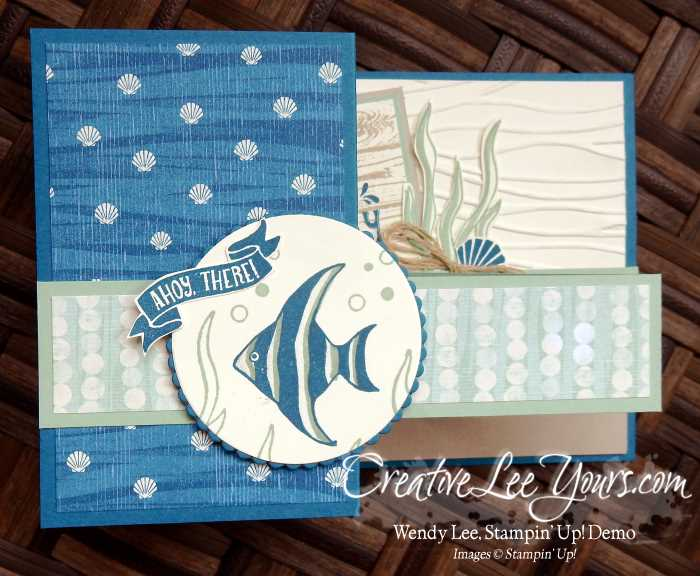 Double Z Seaside Shore by Wendy Lee, Seaside Shore stamp set, Stampin Up, stamping, hand made card, #creativeleeyours, July 2016 FMN class
