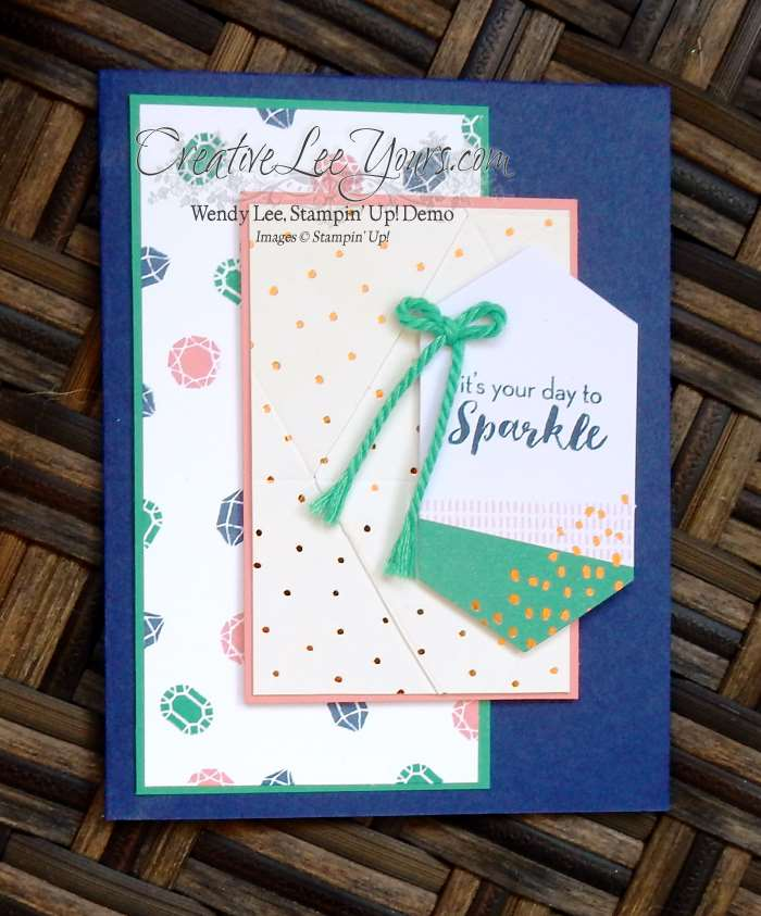 Paper Pumpkin July 2016 What a Gem Kit by Wendy Lee, Stampin Up, hand made cards, #creativeleeyours, birthday
