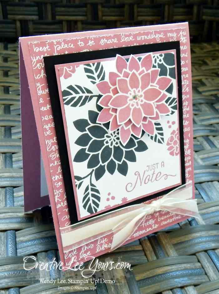 Flourish Inside Spinner by Wendy Lee, Stampin Up, Flourishing Phrases stamp set, Watercolor Wishes stamp set, Perpetual Birthday Calendar stamp set, #creativeleeyours, thinking of you, handstamped cards, August 2016 FMN class