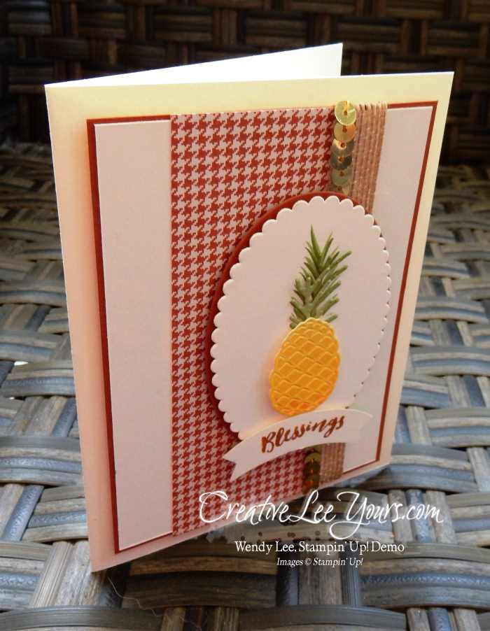 Pineapple Blessings by Wendy Lee, Stampin Up, Paisleys & Posies stamp set, Christmas Pines stamp set, Layering Ovals Framelits, Pretty Pines Thinlits, #creativeleeyours, Hand Made Cards, September 2016 FMN class