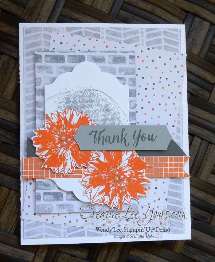 Touches of Texture Thank You by Wendy Lee, Stampin Up, Touches of Texture stamp set, #creativeleeyours, handmade cards, Lots of Labels Framelits