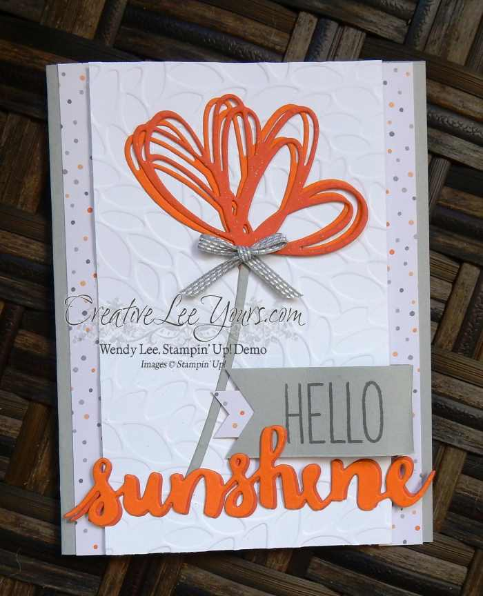Hello Sunshine by Wendy Lee, Stampin Up, #creativeleeyours, Oh Happy Day stamp set, sunshine framelits