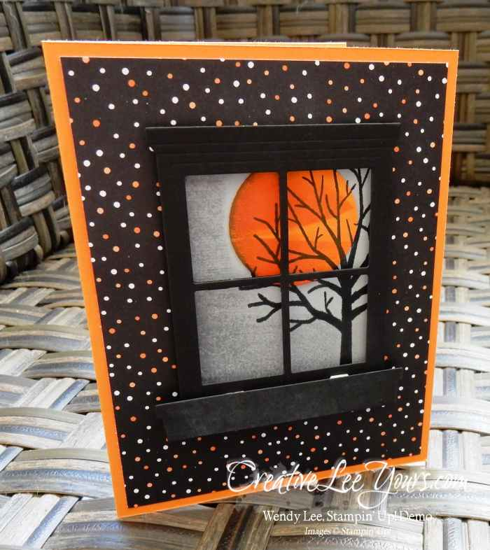Spooky Night by Wendy Lee, Stampin Up, Sheltering Tree stamp set, Teeny Tiny Wishes stamp set, Hearth & Home Thinlits, Halloween, Handmade card, #creativeleeyours