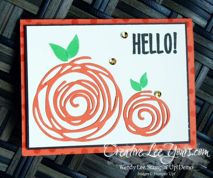 Swirly Pumpkin by Wendy Lee, Stampin Up, August 2016 Paper Pumpkin kit stamp set, Swirly Scribbles Thinlits, Swirly Bird stamp set, #creativeleeyours, Hand Made Cards, September 2016 FMN class