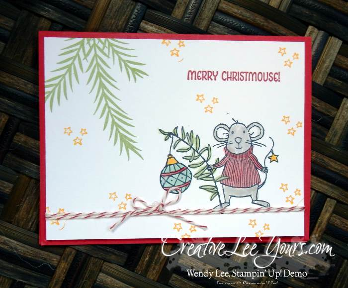 Merry Christmouse by Betsy Batten, Stampin' Up!, #creativeleeyours, diemond team swap, watercoloring, merry mice stamp set, hand made christmas card