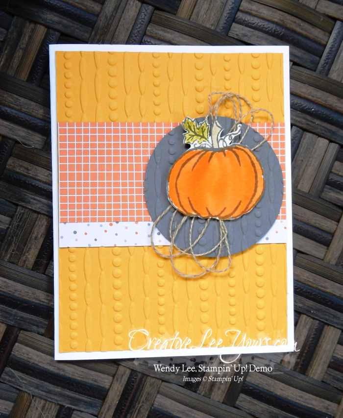 Festive Pumpkin by Stephanie Daniel, Stampin Up, Jar of Haunts stamp set, cable knit embossing folder, #creativeleeyours, Hand Made Christmas Cards, Diemonds team swap