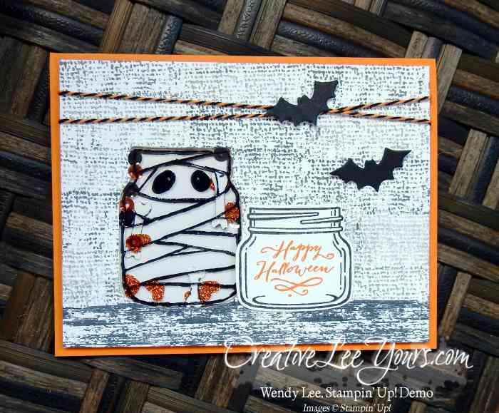 Jar of Haunts Shaker by Sheila Tatum, Stampin Up, #creativeleeyours, diemonds tam swap, everyday jars framelits, timeless textures stamp set, hand stamped halloween card