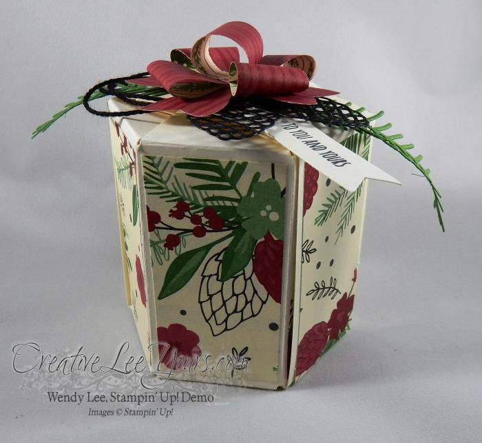Hexagon Box By Wendy Lee, christmas pines stamp set, pretty pines thinlits, november 2016 fmn class, stampin up, #creativeleeyours