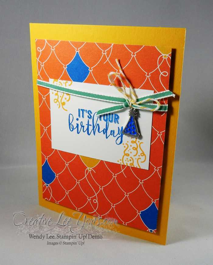 Balloon Adventure Pop Up by Wendy Lee, Stampin Up, hand made birthday card, Balloon Adventure stamp set, balloon pop-up thinlits, party animal